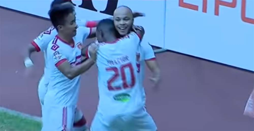 Selebrasi pemain Perseru Badak Lampung FC