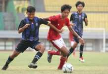 Aksi Timnas U-16 menghadapi Tim Askab Bekasi U-18